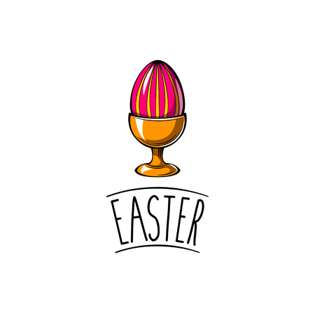 Easter Egg cup holder with painted colorful egg. Vector illustration