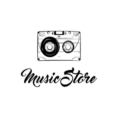 Audio Cassette icon. Music store lofo label. Retro music badge. Vintage tape. Vector illustration