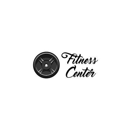 Disk weight barbell. Fitness center logo label. Sport badge. Vector illustration.