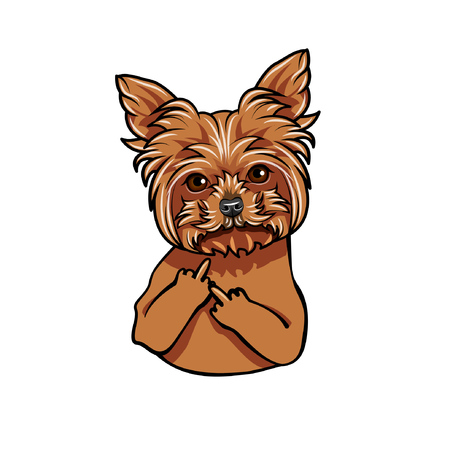 Griffon dog. Middle finder gesture. Dog portrait. Vector illustration