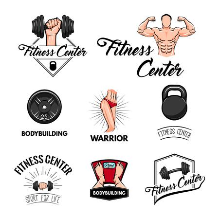 Sport set. Bodybuilder, barbbell, dumbbell, scales. Gym set. Fitness elements. Vector illustration Athletic body Sport Train logo label