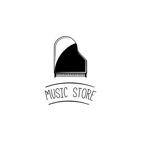 Piano de cola. Etiqueta del logotipo de la tienda de música. Instrumento musical. Ilustración vectorial Logos