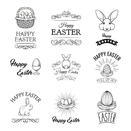 Ensemble de Pâques avec oeufs, nid d'oiseau, lapin, porte-oeufs et panier. Symboles de vacances de Pâques.