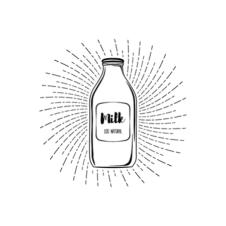 Milk bottle icon. Dairy label. Milk box. Beams. Milk logo Vector illustration
