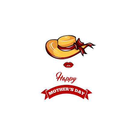 Mothers day card. Wide-brimmed hat, red lips. Greeting card design. Vector illustration. Ribboon