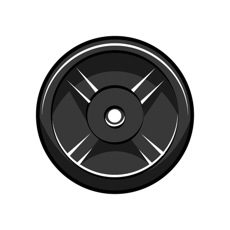 Disc barbell. Sport icon. Bodybuilding, Fitness logo label badge emblem. Design element. Vector illustration