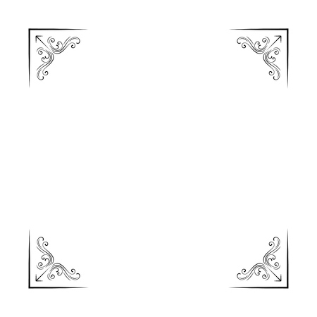 Ornametal decorative corners. Filigree flourish vintage page divider. Scroll elemetns. Vector illustration. Wedding invitation, greeting card design. Illustration