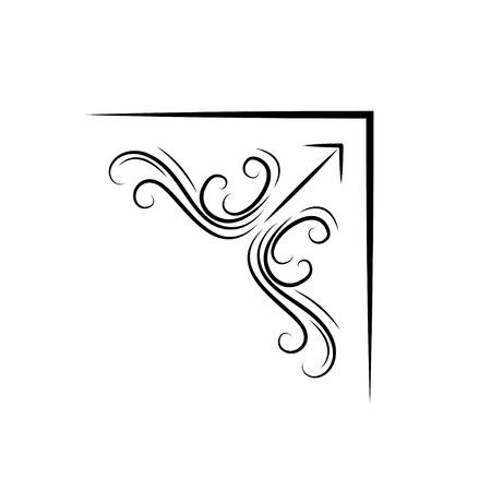 Frame corners. Ornamental filigree Border. Swirls, Scroll elements. Vector Design element