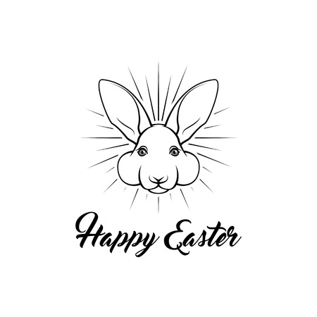Happy Easter bunny. Greeting card. Easter holiday symbol. Rabbit face. Vector illustration