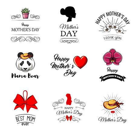母亲节。熊妈妈,心,花,弓。我爱你,贺卡,海报。装饰设计元素。漩涡,滚动金银丝元素矢量插图