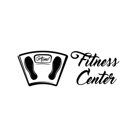 Floor weight Scale. Fintess center label logo emblem. Vector illustration.