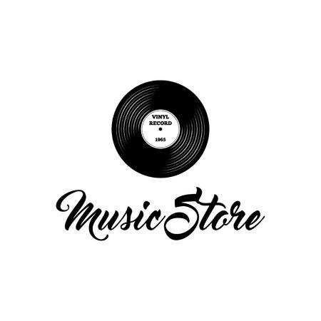 Vinyl record icon. Music store logo label. Musical badge. Vector illustration.