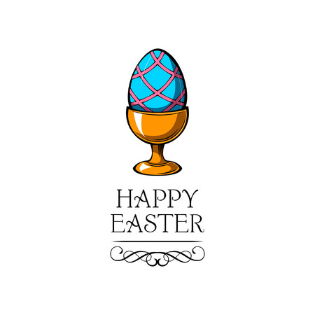Painted colored egg. Easter egg holder, egg-cup. Happy Easter holiday card. Vector illustration