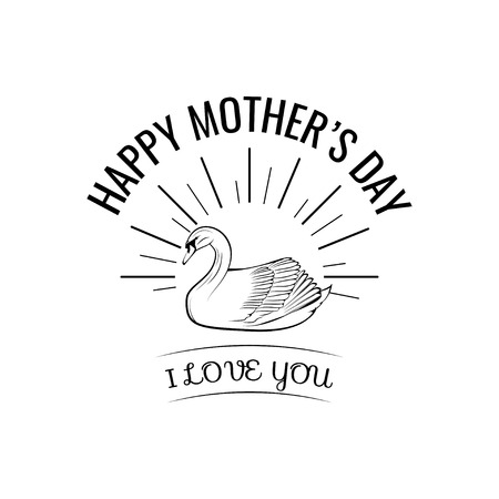 Mothers day card. Swan. I love you inscription. Beams. Greeting card. Vector illustration