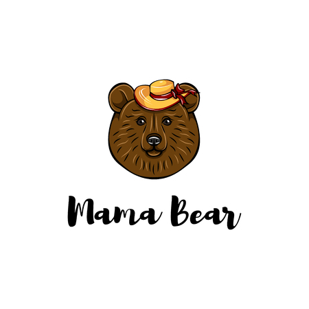 Mothers day card. Mama bear. Wide-brimmed hat. Cute animal. Vector illustration. Mom gift greeting card.