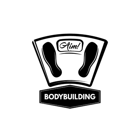 Floor scales icon. Bodybuilding badge. Training motivation. Vector illustration Illusztráció