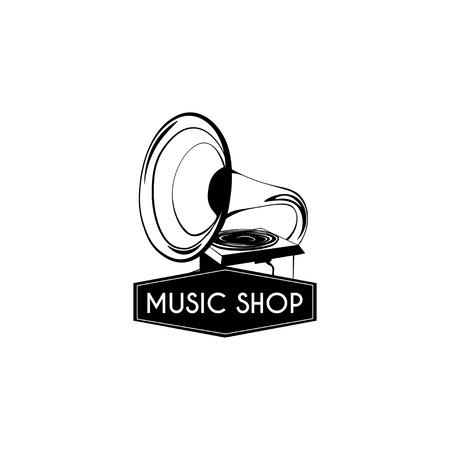 Gramophone icon. Music shop vector illustration. Ilustração
