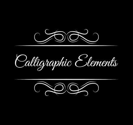 Calligraphic elements. Ornate filigree swirls, page decoration Illustration
