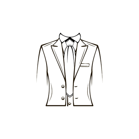 Dress coat, Suit, Necktie, Tuxedo. Groom Wedding clothes Dinner jacket Vector illustration