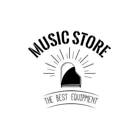 Grand piano icon. Music store label logo. Musical instrument. The Best Equipment inscription. Vector.
