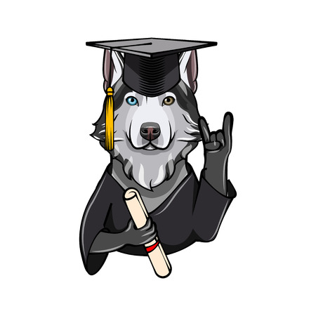 Siberian Husky Graduate. Rock gesture, Horns. Graduation cap hat diploma. Dog. Vector illustration Illustration