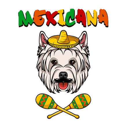 West highland white terrier. Sombrero, Maracas. Mexicana colorful inscription. Dog breed. Dog portrait Vector Illustration