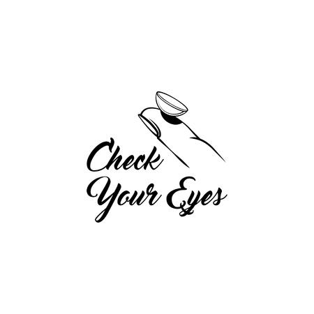 Contact lens icon. Check your Eyes inscription. Illusztráció