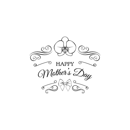 Mother day card. Vintage decoration, orchid flower, bow, swirls, filigree elements. Vector illustration Happy Mothers day
