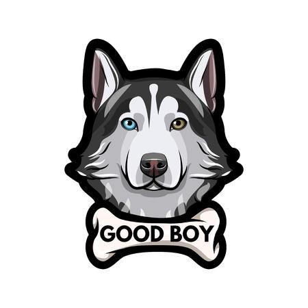 Siberian husky dog, with Good boy inscription.