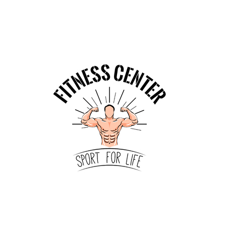 Fitness center logo label emblem, Muscles. Strongman. Sport for life text, Vector illustration