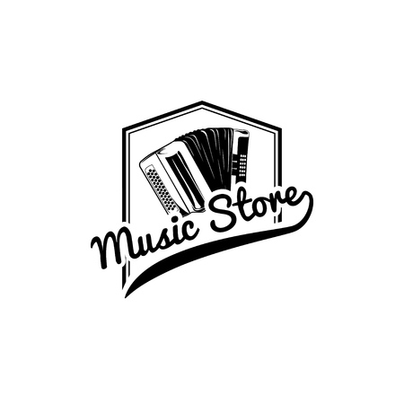 Accordion icon, Music store label. Musical instrument logo, Music shop emblem. Vector illustration