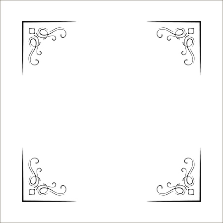Decorative corners, swirls, ornate frame, Page decoration, Wedding design, Filigree dividers Vector illustration