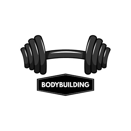 Dumbbell icon, barbel icon. Bodybuilding emblem logo. Fitness sign. Vector illustration Ilustração