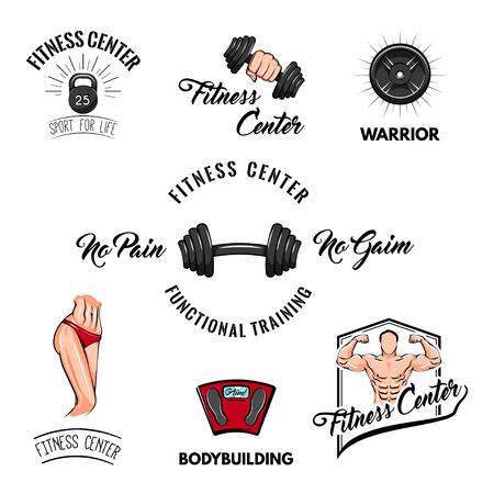 Sport icons set. Fitness center logo label.  Fitness badges Training motivation Vector