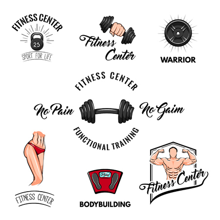 Sport icons set. Fitness center logo label.  Fitness badges Training motivation Vector