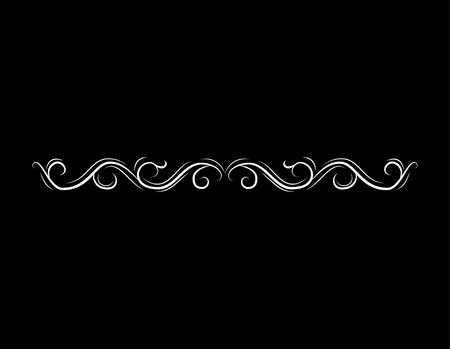 Filigree border, horizontal calligraphic design element. Wave, Filigree ornament. Vector illustration Vettoriali