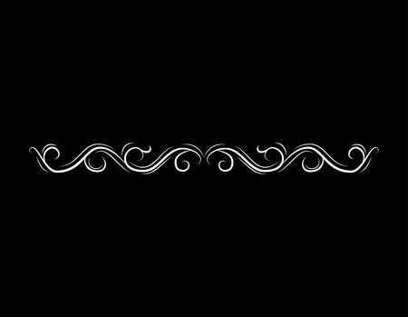Filigree border, horizontal calligraphic design element. Wave, Filigree ornament. Vector illustration Illustration