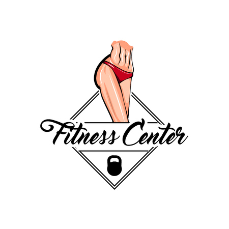Athletic female body. Fitness center logo label emblem. Kettlebell icon, Muscular woman. Vector illustration
