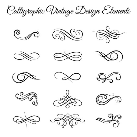 Swirly line curl scroll elements set. Flourish vintage embellishments.
