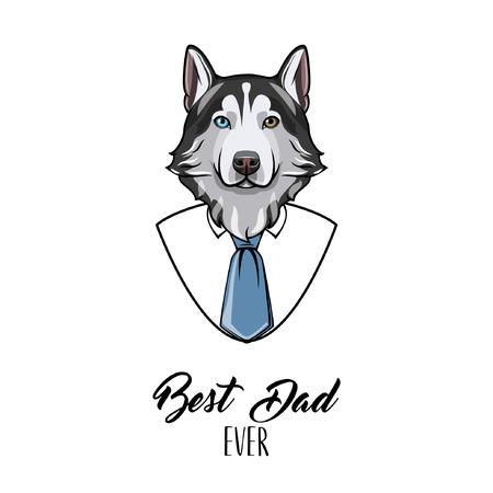 Husky siberiano papá. Tarjeta de felicitación del día del padre. Traje, corbata. Vacaciones papás. Padre saludo. Ilustración vectorial