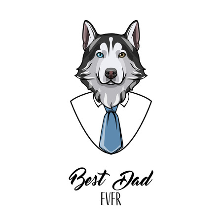 Siberian husky dad. Fathers day greeting card. Suit, Necktie. Dads holiday. Father greeting. Vector illustration