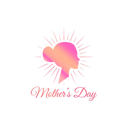 Womans silhouette. Mother day card. Mom greeting. Face in beams. Pink color. Vector Illustration