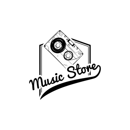 Audio Cassette icon. Music store label logo embel. Vector illustration