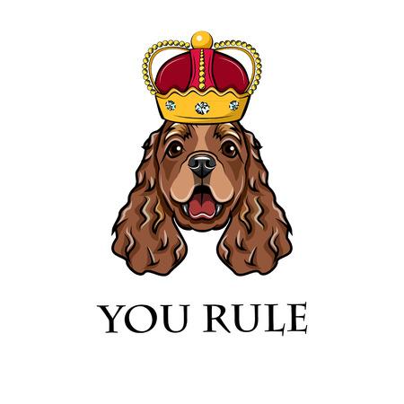 Cocker Spaniel king. Crown. Queen. Dog portrait. You rule Vector illustration
