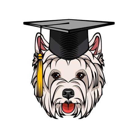 West Highland White Terrier dog graduate. Graduation hat cap. Dog breed. Vector illustration  イラスト・ベクター素材