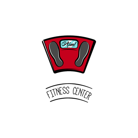 Weight Scale. Fitness center label emblem logo. Floor scale. Weigth loss motivation. Vector illustration