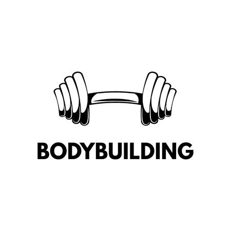 Barbell icon. Bodybuilding label logo emblem. Sport badge. Vector illustration