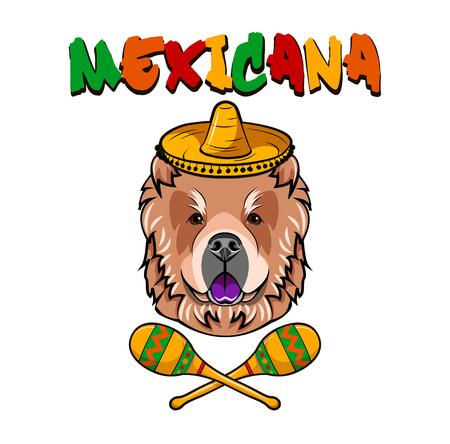 Chow Chow dog. Maracas, sombrero hat. Mexico. Mexican dog. Dog breed Vector illustration Illustration
