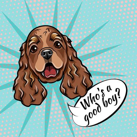 コッカースパニエルの肖像画。犬の銃口の顔の頭。誰が良い少年の手紙です。ベクターの図。