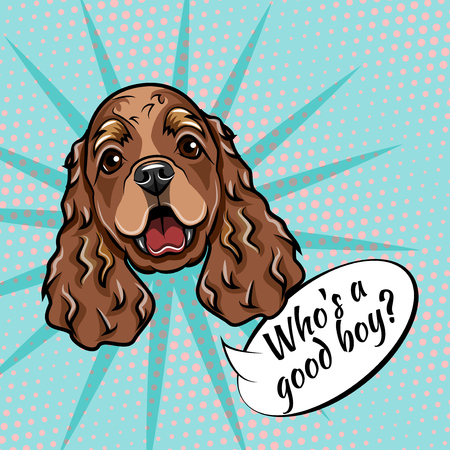 Cocker Spaniel portrait. Dog muzzle face head. Who is good boy lettering. Vector illustration.